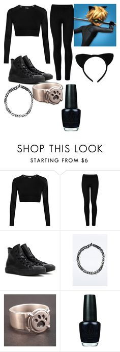 """""""Cat noir """" by skiddypanther58 on Polyvore featuring Ivy Park, Wolford, Converse and OPI"""