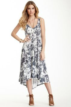 Printed V-Neck Hi-Lo Dress by Three Dots on @HauteLook
