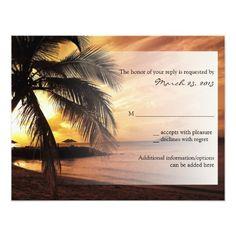 Sunset Beach Wedding RSVP Card