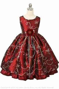 Gold-embroidered burgundy flower girl dress