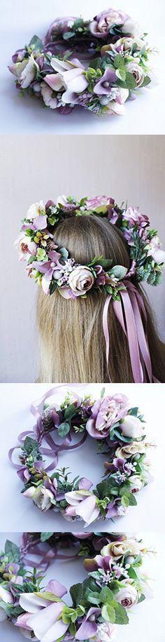 Purple Wedding Headband Flower Crown Handmade Boho Festival Floral Wreath Wedding Beach Hair Halo
