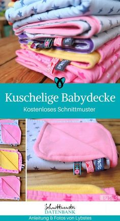 Kuscheldecke Babydecke Decke für Babies nähen kostenloses Schnittmuster gratis Nähanleitung Freebie Nähidee Geschenkidee
