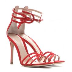 Gianvito Rossi mytheresa.com Exclusive Suede Sandals (29.465 RUB) ❤ liked on Polyvore featuring shoes, sandals, heels, gianvito rossi, red, red sandals, red suede shoes, heeled sandals, suede leather shoes and red heel sandals
