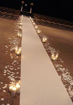 candles and rose petals.  Just at chairs.