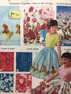 """""""Dogs in a Basket"""" -- """"Rose Border"""" -- """"Central Park"""" (print ad) -- vintage border print skirts Vintage Dresses 50s, Vintage Skirt, Vintage Outfits, Vintage Fashion, 1950s Fashion, Vintage Clothing, Vintage Borders, Vintage Patterns, Vintage Advertisements"""