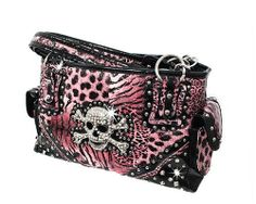 Pink Leopard Print Skull Studded Conceal and Carry Purse