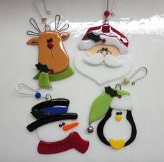Fused Glass Christmas Ornaments Reindeer Santa by GlassicArtistry, $60.00