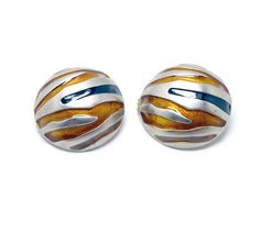 Tiger Striped Earrings - Large Domed Animal Print Clip Ons