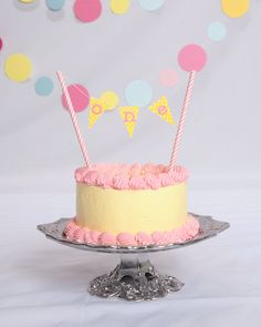First Birthday Smash Cake. Pink & yellow. Pink lemonade