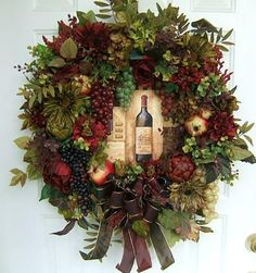 TUSCAN WINE THEME WREATH, FLORAL WREATH GRAPES. $125.00, via Etsy.