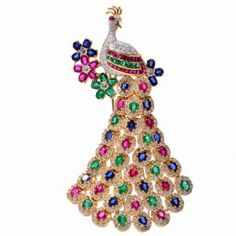 Vintage 39.28cts Diamond Sapphire Ruby Emerald 18K Gold Peacock Pin | Dover Jewelry