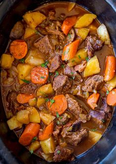 Slow Cooker Guinness Beef Stew with creamy Yukon potatoes, bacon, carrots and a rich tomato beef gravy, this is the perfect winter stew! Beef And Potatoes, Stewed Potatoes, Yukon Potatoes, Crock Pot Recipes, Slow Cooker Recipes, Beef Recipes, Irish Recipes, Korean Recipes, Best Crockpot Beef Stew