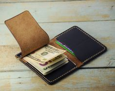 Personalized Money Clip Wallet Horween by Manufacturabrand on Etsy Leather Wallet Pattern, Leather Money Clip Wallet, Sew Wallet, Card Wallet, Leather Gifts, Leather Craft, Money Clip Card Holder, Leather Projects, At Least