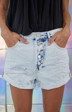 One Teaspoon Iced Blue Outlaws Shorts
