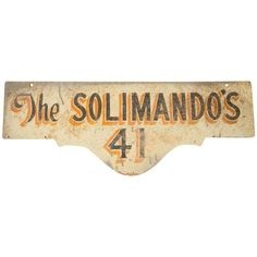Vintage Deco Double Sided House Sign Solimando's ($180) ❤ liked on Polyvore featuring home, home decor, wall art, novelty signs, signs, welcome sign, vintage signs, vintage home decor, welcome wall art and vintage wall art
