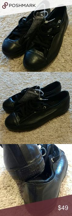 New Converse All Star Black leather monochrome s 6 Converse All Star sneakers Black leather monochrome, size US 6 New with tag, never worn Cool rare design, all leather including front and around sneakers Hidden shoe lace holes Converse Shoes Sneakers