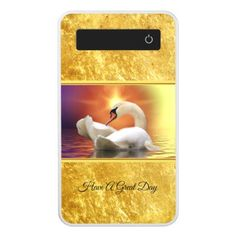 White Swan in a lake with a orange gold sunset Power Bank - #chic gifts diy elegant gift ideas personalize