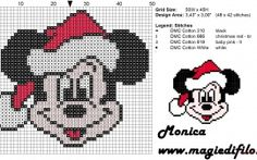 Christmas Mickey Mouse face cross stitch pattern