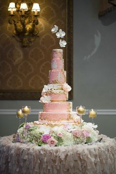 Monochromatic pink and gold wedding cake by Nadia and Co. inspired by a vintage family heirloom cameo.
