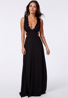 This beautiful black dress is the ultimate in chic sophistication. With classy cut outs, lace detailing and a gorgeously flowing design, this dress will see you through all your special occasions this season. Style with gold accessories and...