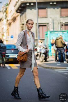 Elena Perminova Street Style Street Fashion Streetsnaps by STYLEDUMONDE Street Style Fashion Photography
