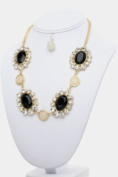 Crystal frame oval necklace and earring set