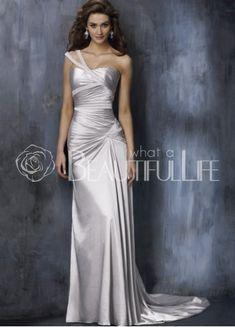 $238.49Silver #Sheath/Column #One-Shoulder Straps Sweep Train Satin #Wedding Dress With Pleats
