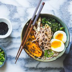 Vegetarian Miso Ramen with Rice Noodles, Roasted Sweet Potatoes + Sesame Broccolini