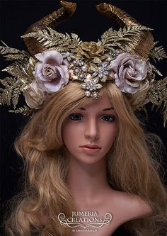 READY TO SHIP - One of a kind! Hand-made headpiece with a variety of gold flowers, jewelry and beautiful painted faux horns. So perfect for an