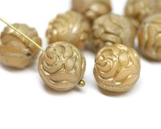4pc Beige Rose Bud beads, Gold wash rose flower round bead, czech glass double sided design puffy rose - 13mm - 0549 by MayaHoney on Etsy