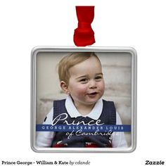 Prince George - William & Kate Silver-Colored Square Ornament