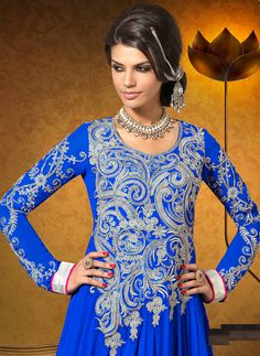 Blue color shaded faux georgette anarkali suit.Suit made with resham work zari work embroidered patch work.This kameez comes with matching dupatta and bottom.