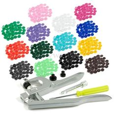 Fastener-Snap-Plier-150pcs-T5-Plastic-Resin-Press-Stud-Poppers-Buttons-15Colors