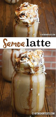 Samoa Latte Recipe - A Few Shortcuts - - Girl Scout Cookie favorite gone latte! You can't miss this sinful Samoa Latte Recipe! Make it in just minutes with your keurig! Too good to be true! Keurig Recipes, Tea Recipes, Coffee Recipes, Drink Recipes, Cocoa Recipes, Dinner Recipes, Coffee Creamer, Coffee Cake, Coffee Tables