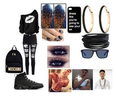 """""""who should i pick!!!!!"""" by zariaisbae ❤ liked on Polyvore featuring Glamorous, Simmons, Moschino, GUESS, alfa.K, Pieces and Oakley"""
