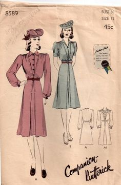 1940s Companion Butterick 8589 daywear dress pattern. #vintage #sewing_patterns #1940s