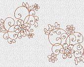 INSTANT DOWNLOAD Flowers and Swirls Redwork Machine Embroidery Designs