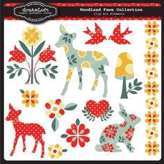 Woodland Clip Art #deer #folk art #woodland