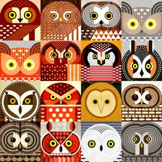 "jevajeva: ""  Sixteen species of North American owls, including Snowy, Pygmy, Hawk, Great Horned, Saw Whet, Elf, Boreal, Short Eared, Long Eared, Great Great, Spotted, Screech, Barred, Burrowing, and Barn Owls. Available at Redbubble and Society6 . """