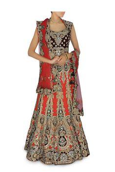 Brick orange color Bridal Lehenga/Chaniya Choli – Panache Haute Couture