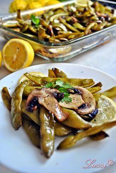 Green Beans and Mushrooms Recipe Diet Recipes, Vegan Recipes, Dessert Recipes, Cooking Recipes, Mushroom Recipes, Vegetable Recipes, Vegetable Soups, Bulgaria Food, My Favorite Food