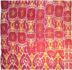 Ikat hanging, antique uzbek ethnic textiles, tribal art, silk/cotton panel. Uzbekistan, 19th c.