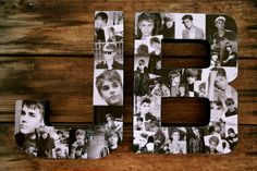 pictures in a collage | JB is for Justin Bieber - 12 inch Justin Bieber Collage Letters