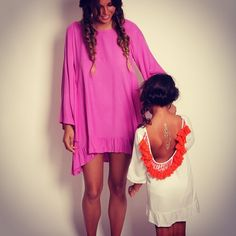 Sundress, collection hippy, beachwear, summer, Alaia Basic Short and Alaia Baby dress models, Light Pink/White and White/Orange, open back, pompons/tassels