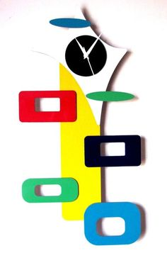 The Ou0027Man Abstract Wall Clock In Yellow U0026 White Colors