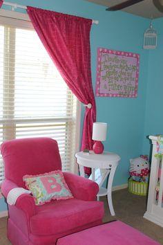 A #hotpink glider! #nursery..... With.... My fav fabric... Deena designs