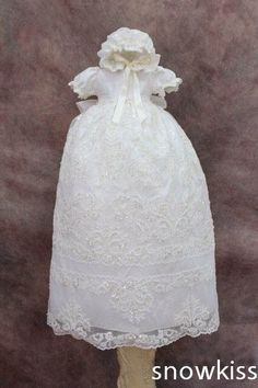 112.00$  Watch now - http://alii17.worldwells.pw/go.php?t=32429269495 - Blings Diamond Beads Lace Baby Girl White/Ivory First Communion Dresses Christening Gown Baptism Dress With Bonnet