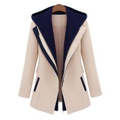 Stylish Color Block Hooded Long Sleeve Faux Twinset Design Coat For