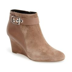 """Franco Sarto 'Lucita' Wedge Bootie, 3"""" heel ($149) ❤ liked on Polyvore featuring shoes, boots, ankle booties, ankle boots, mushroom suede, leather boots, short leather boots, leather booties and wedge bootie"""