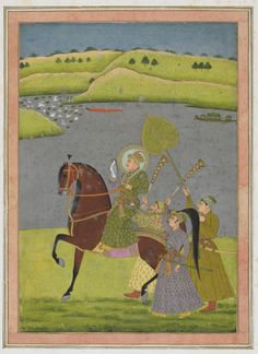 Equestrian portrait of Muhammad Shah from the Impey Album ca. 1730